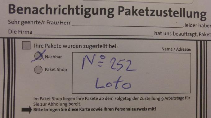 """""""NO 252"""" - lebt? Und, wenn ja: Wo? Etwa in """"Loto""""?"""