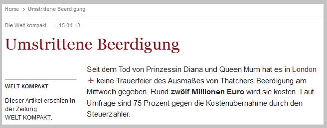 """Ein Kommentator schrieb zur Opulenz der Trauerfeier: """"Ein Glück, dass Großbritannien Staatbegräbnisse noch nicht privatisiert hat..."""" // Quelle: www.welt.de"""
