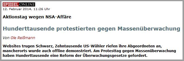 In den USA regt sich mehr offenbar Protest gegen die Dauerbespitzelung, als in Europa // Quelle: www.spiegel.de