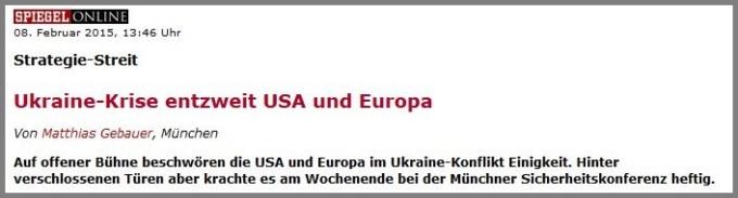 Ukraine entzweit USA und Europa