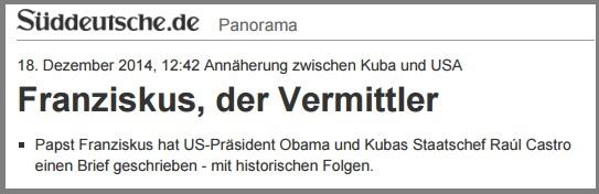Wer schreibt, der bleibt. Ob der Papst wohl auch Wohlfahrtsmarken benutzt? // Quelle: http://www.sueddeutsche.de/panorama/annaeherung-zwischen-kuba-und-usa-franziskus-der-vermittler-1.2272967