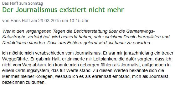 Der Journalist Hans Hoff erklärt seinen Abschied vom Journalismus